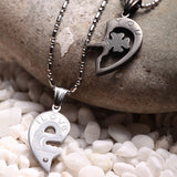 Four-leaf Clover Key And Lock Lover Couple Necklaces Matching Set