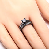Princess Cut Black Zircon 925 Sterling Silver Gold Plated Engagement Ring