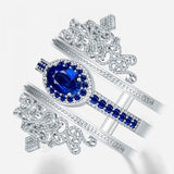 Double Crowns Round Blue Sapphire Ring