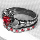 Heart-shaped Ruby Claddagh Engagement Ring