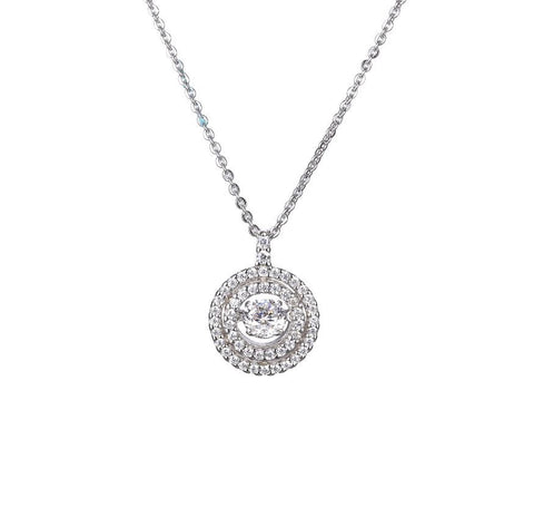 Sterling Silver Doule Ring Round Dancing Diamond Pendant Necklace