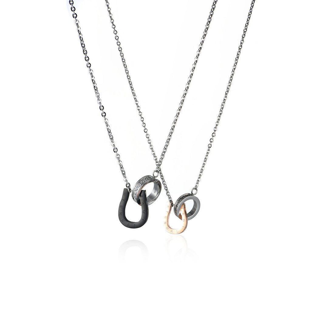Arch & Ring Titanium Steel Couple Necklaces
