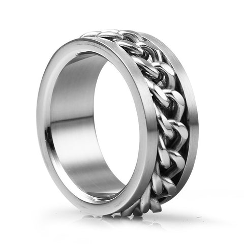 European Style Cool Titanium Steel Rotatable Chain Men's Ring