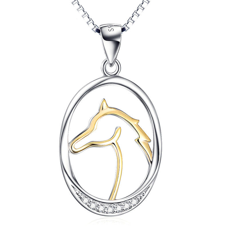 Horse Head Silver Pendant Necklace
