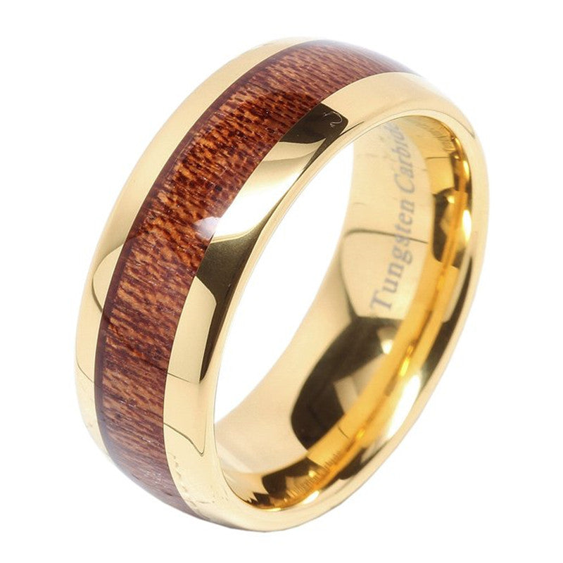 Personalized 18K Gold Plate Tungsten Ring with Wood Inlay