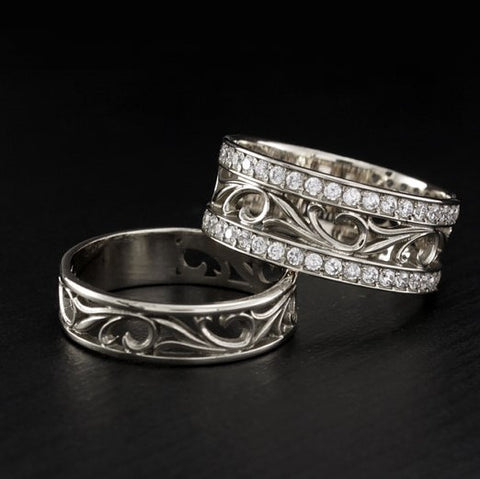 Vintage Style His And Hers Engagement 925 Sterling Silver Rings