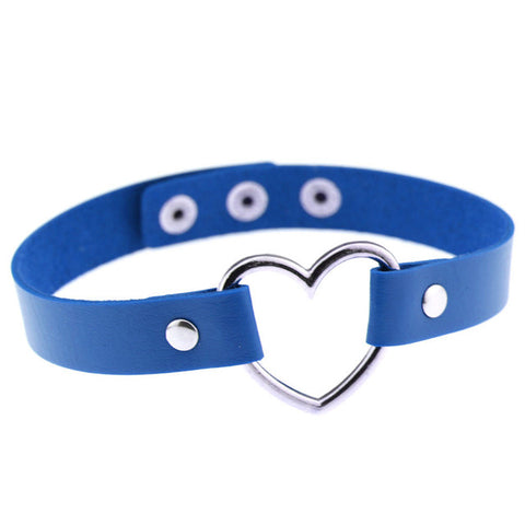 Punk Style Heart Shaped PU Leather Choker(Blue)