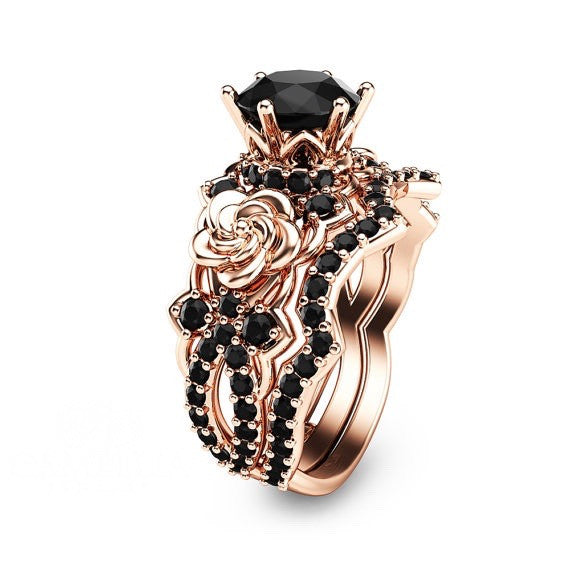 Created Black Diamond Rose Gold Flower 925 Sterling Silver Engagement Ring Set
