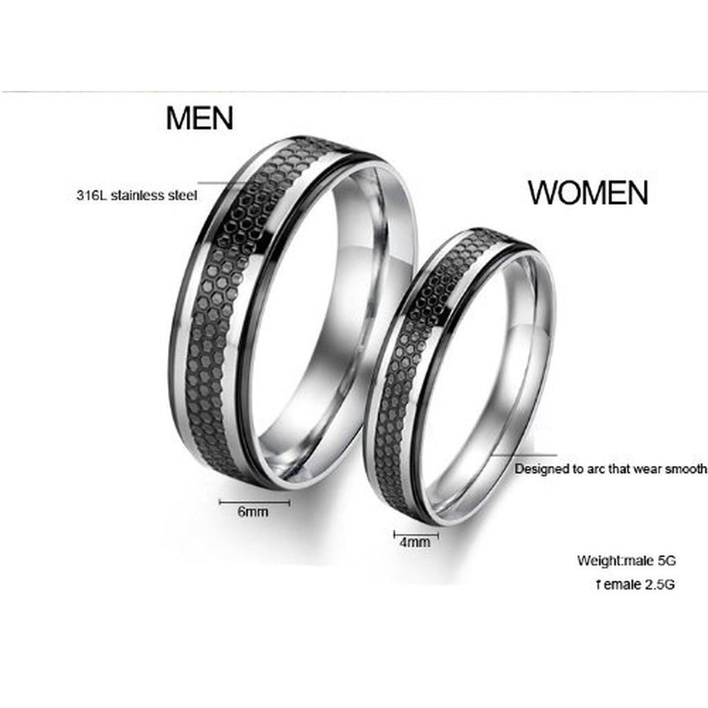 Snake Skin Printed Couple Tungsten Steel Band Rings