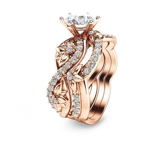 Rose Gold Plated 925 Sterling Silver Floral Engagement Ring with Matching Band