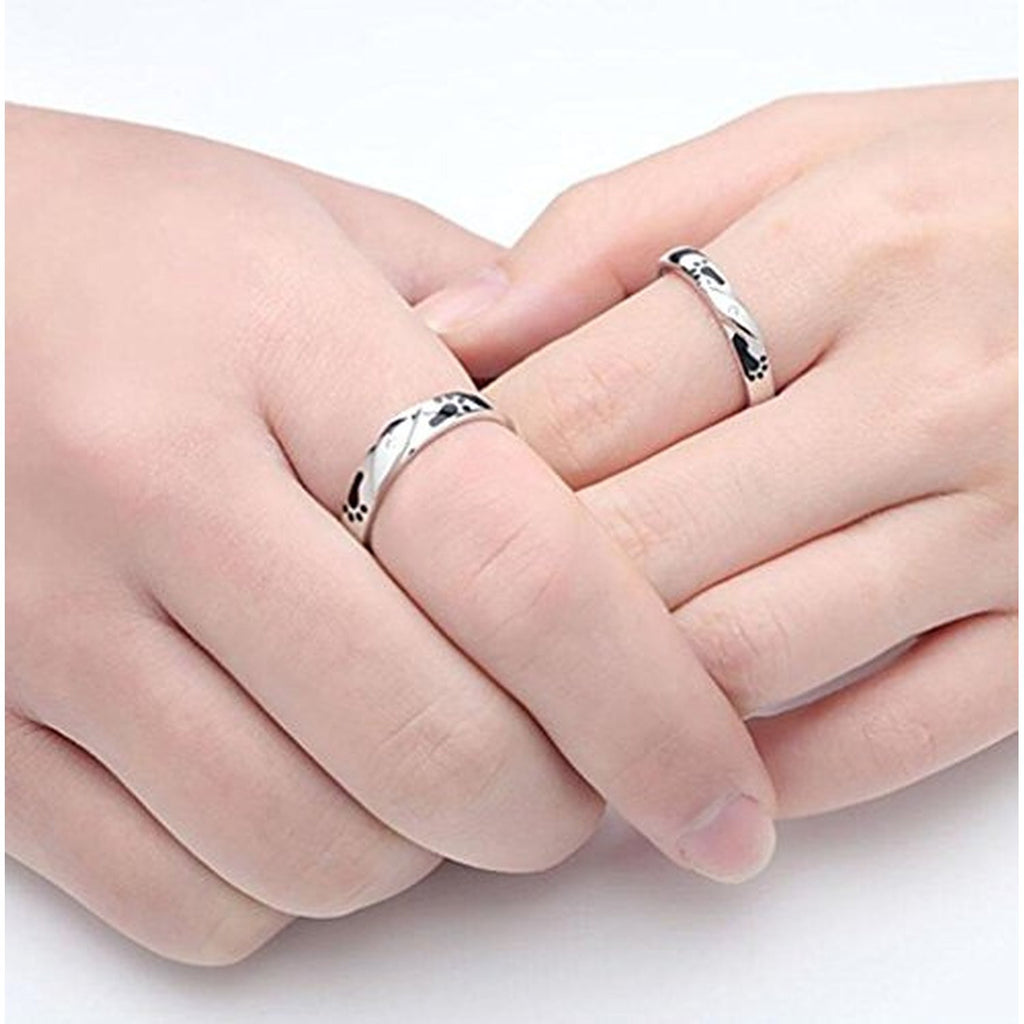 925 Silver Plated Platinum Footprints of Love Couple Rings – EverMarker