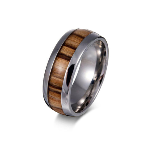 Personalized Stylish Stainless Steel Wood Grain Ring