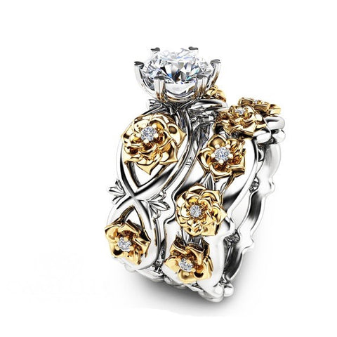 Two Tone Gold Floral Created Moissanite 925 Sterling Silver Engagement Ring Set