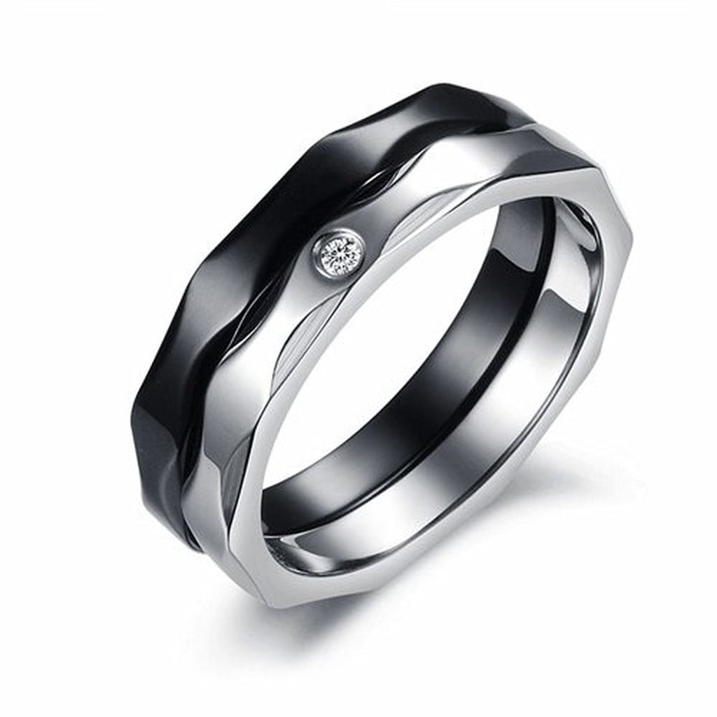 Stainless Steel 2 In 1 Clear CZ Couples Engagement Wedding Bands