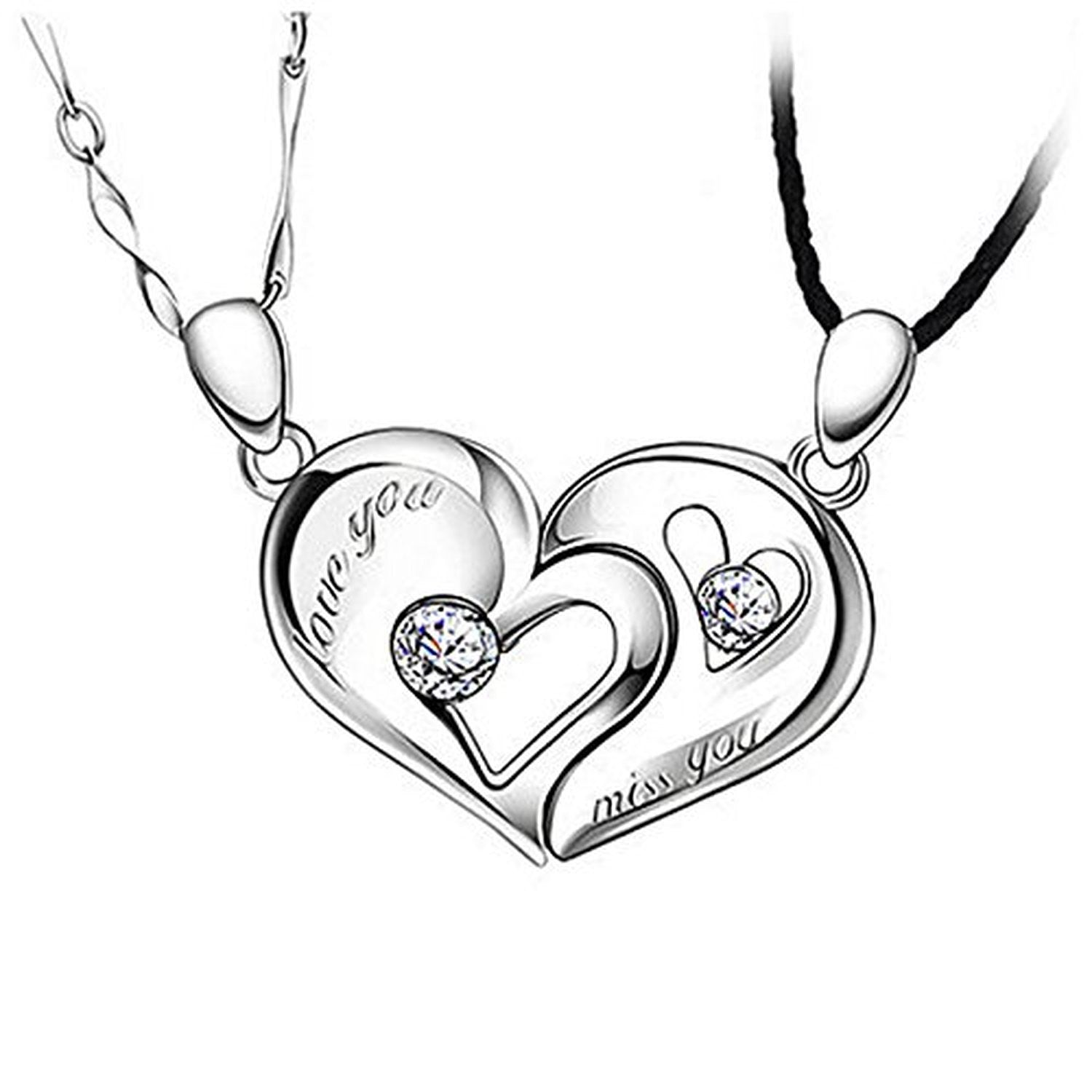 """RUINUO 925 Sterling Silver """"Together"""" Heart Shape ..."""