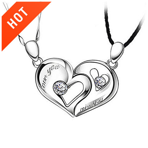 925 Sterling Silver &Together& Heart Shape Magnetic Design Couple Necklaces