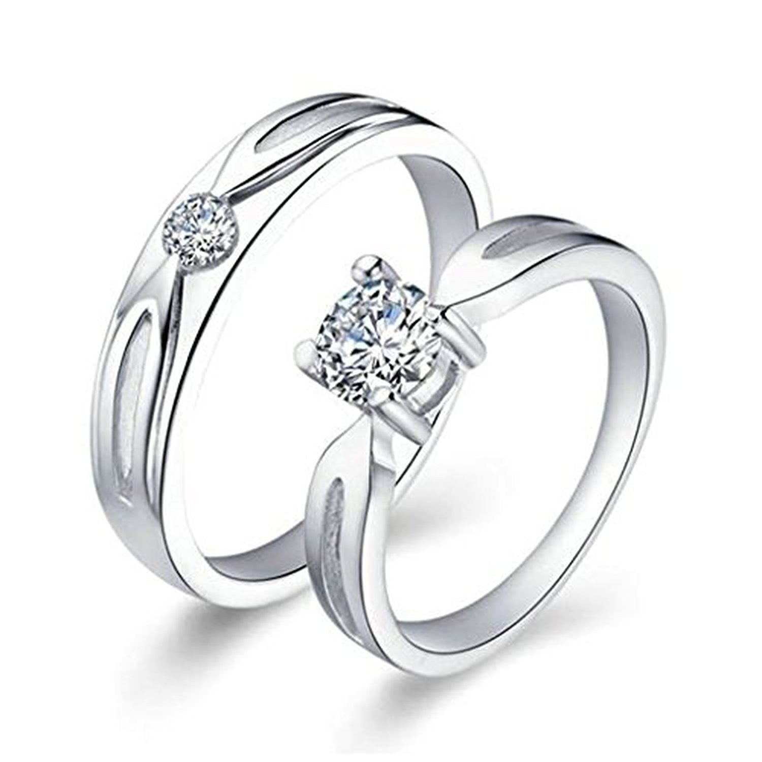 wedding rings mens womens cubic zirconia couple rings evermarker