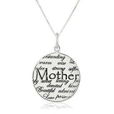 Beautiful Mother Engrave Pendant Necklace (words:warm,wise,strong,sweet,devoted,kind)