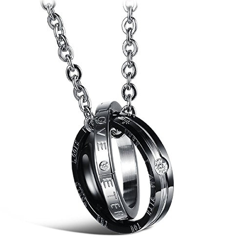pendant his rings amp eternal silver products black rose endless double stainless women az set couple hers necklaces necklace men matching love couples