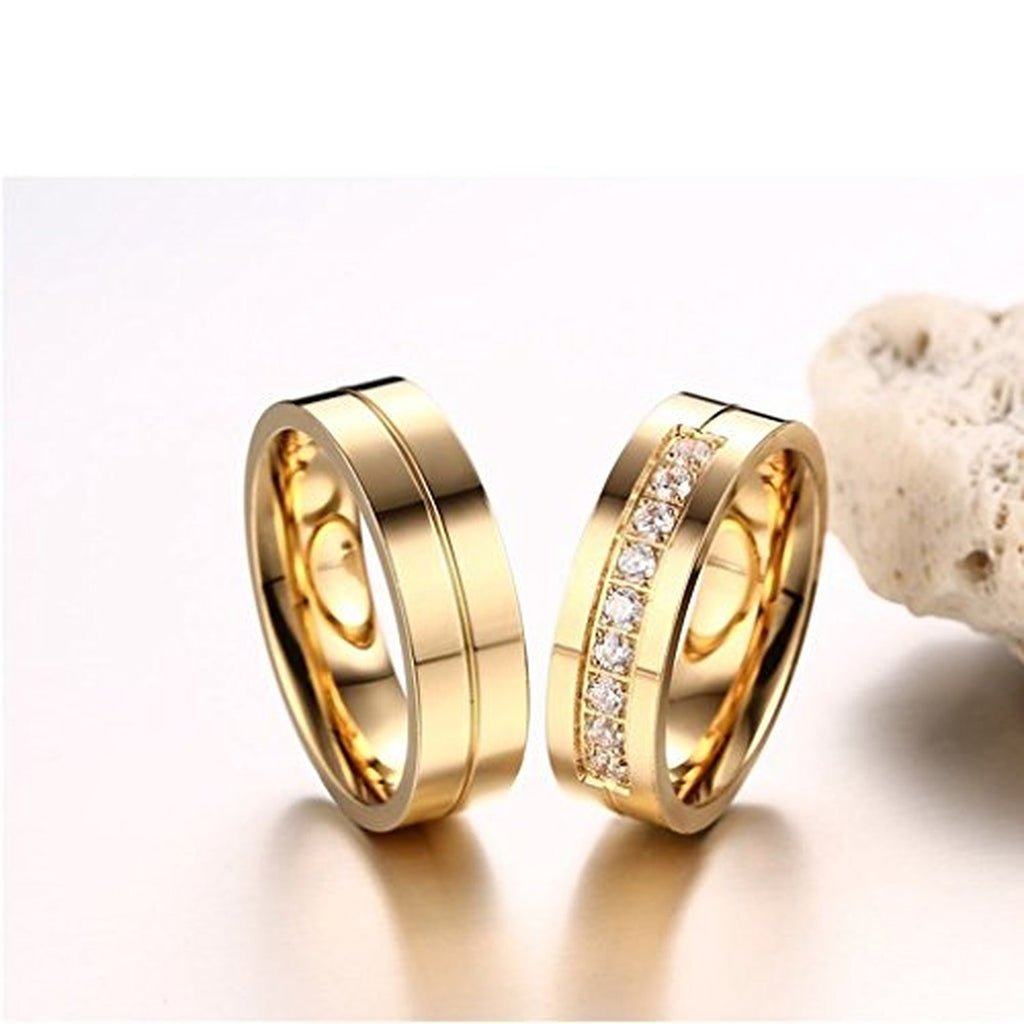 Personalized Golden Stripe Engraved Rhinestones Pave Couple Rings ...