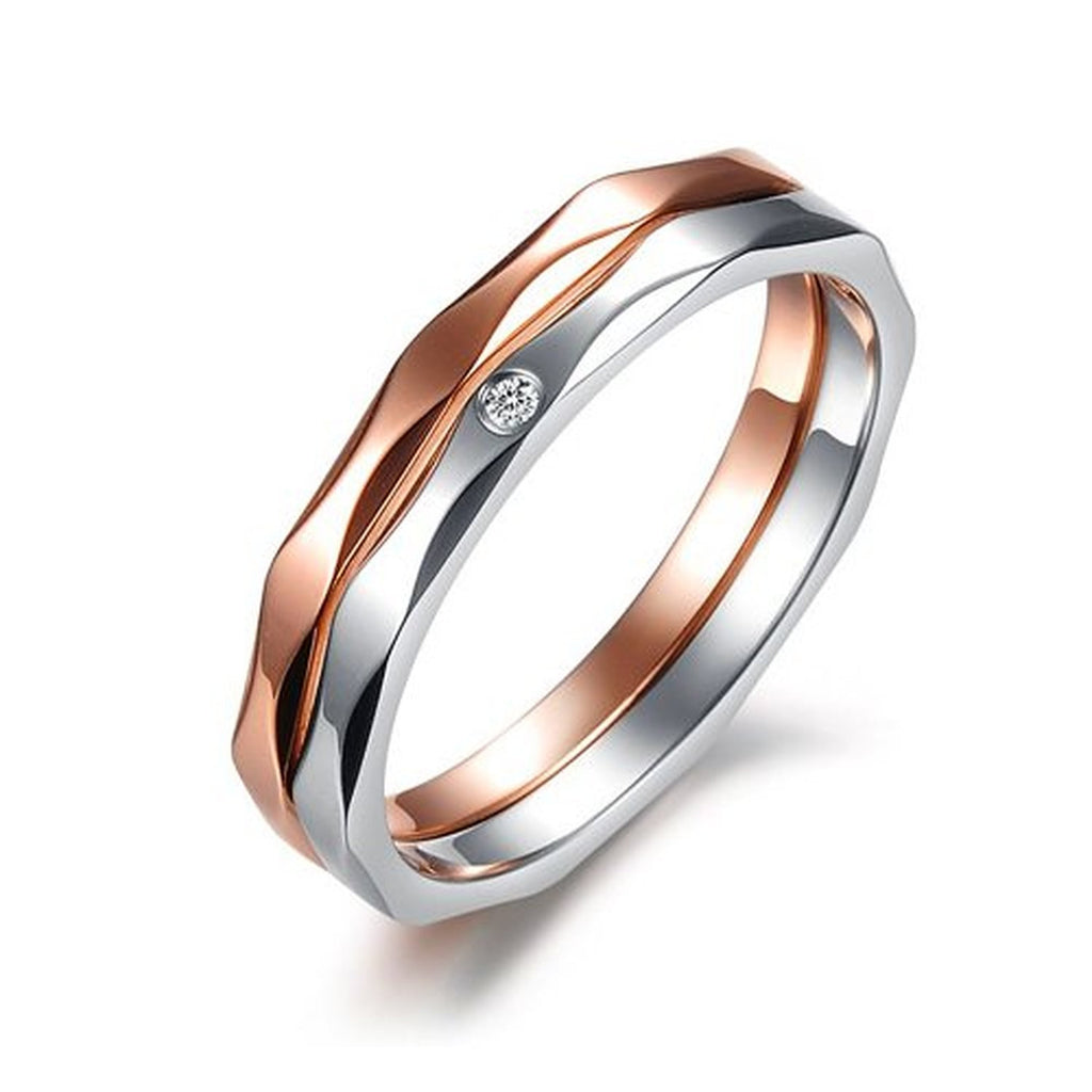 stainless steel 2 in 1 clear cz couples engagement wedding bands rings - Couples Wedding Rings