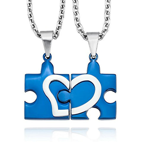 Lovely Heart Puzzle Couple Necklace