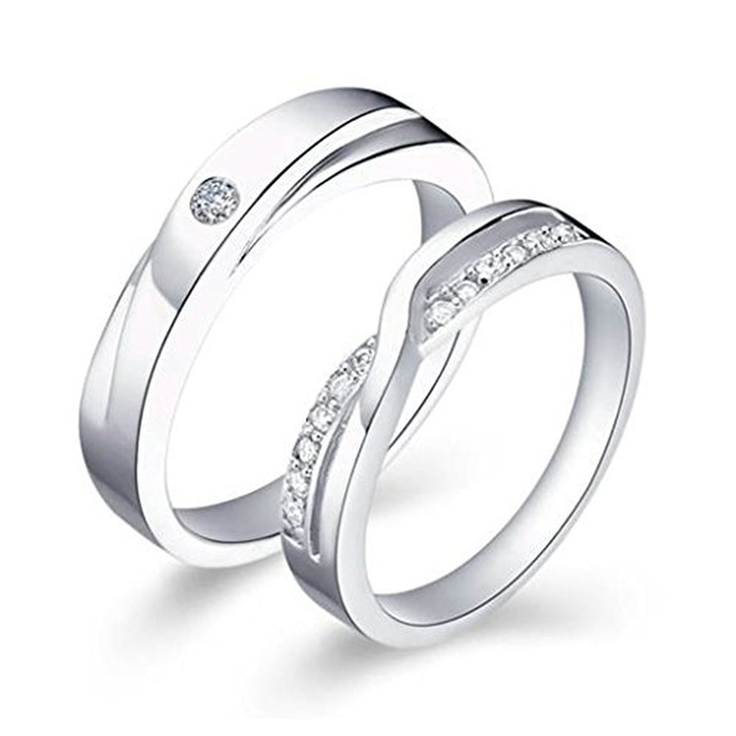 com promise design u evermarker couples rings unique for engagement leaves couple ring wedding platinum amazoncom athelred cz diamond stripe