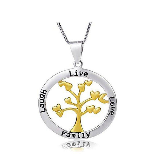 925 Sterling Silver Family Tree Pendant Necklace (Live Love Laugh Family)