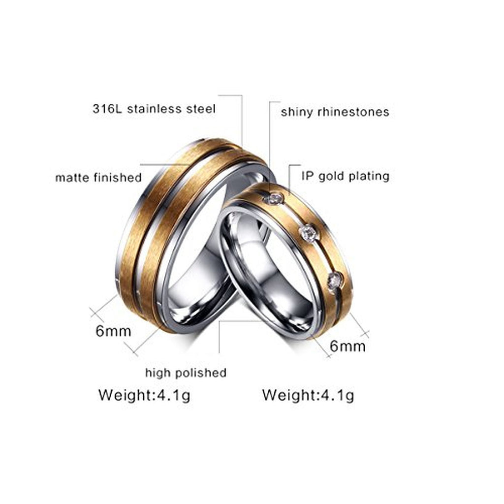 Stainless Steel Cam CZ Couple Wedding Rings EverMarker