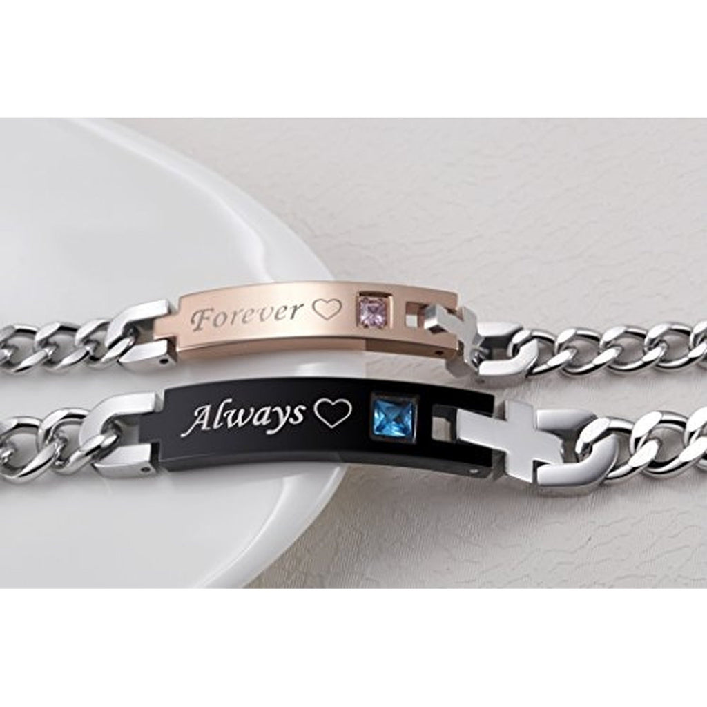 Personalized Always and Forever Stainless Steel Matching Couples ...