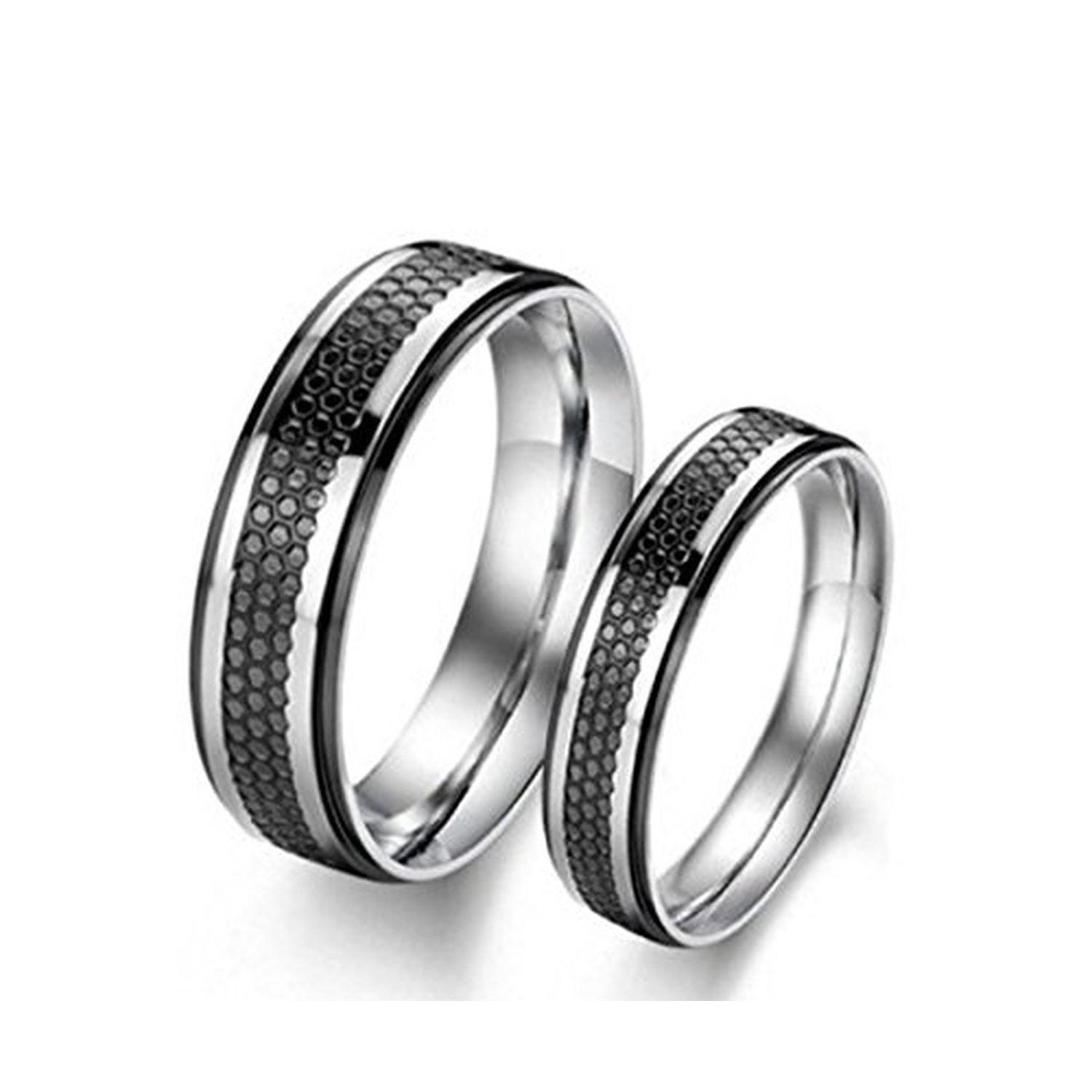 ring brushed band itm center gold carbide silver mens women black wedding rings tungsten
