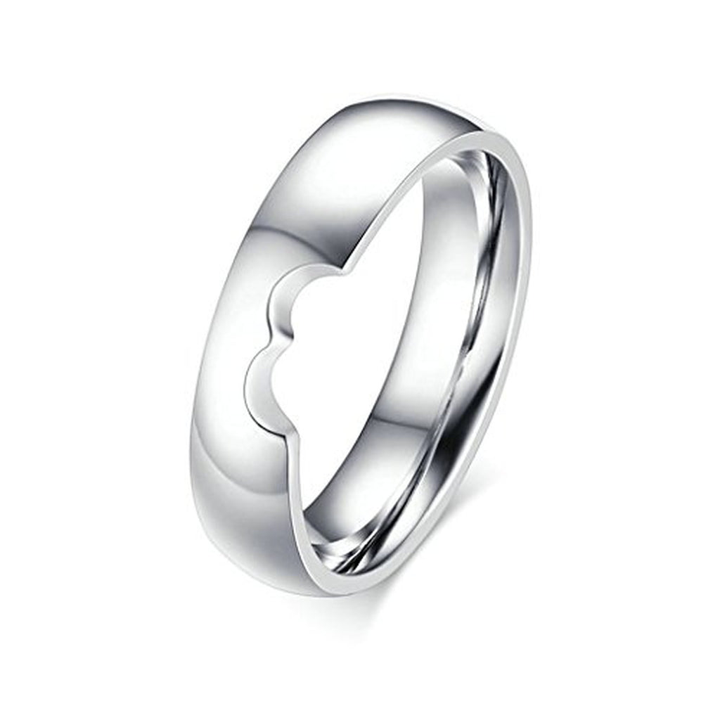 heart puzzle hollow engagement band couple rings - Puzzle Wedding Rings