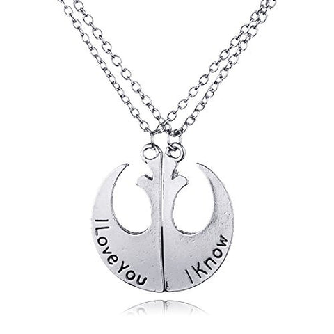 Wars Rebels badge I Love You I Know Couple Pendant Necklaces