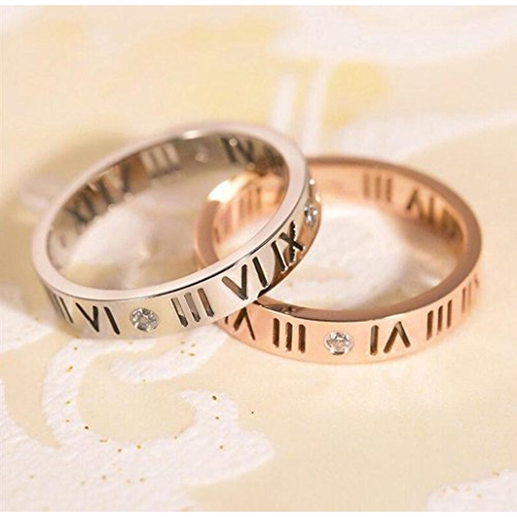 Diamond-Lucky Number Roman Numerals Couple Rings – EverMarker