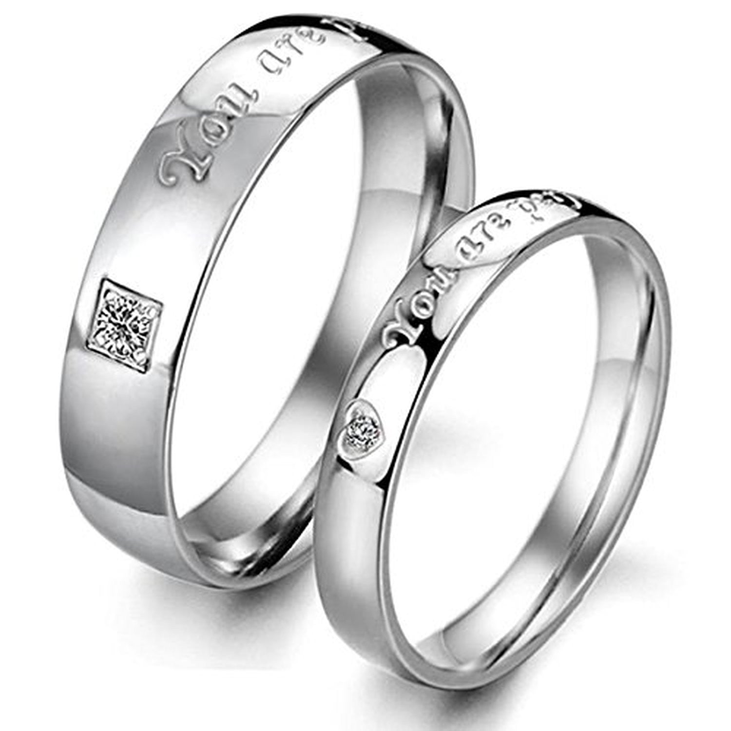 wedding couple cubic promise bands new plated zironina of rings silver evermarker