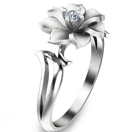 Unique Leaf and Flower Created Diamond 925 Sterling Silver Wedding Ring