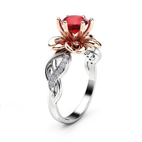 Two Tone Ruby Petal 925 Sterling Silver Engagement Ring