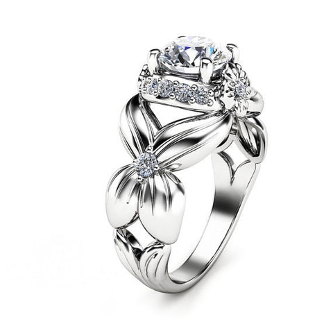 Unique Flower White Gold Plated 925 Sterling Silver Engagement Ring