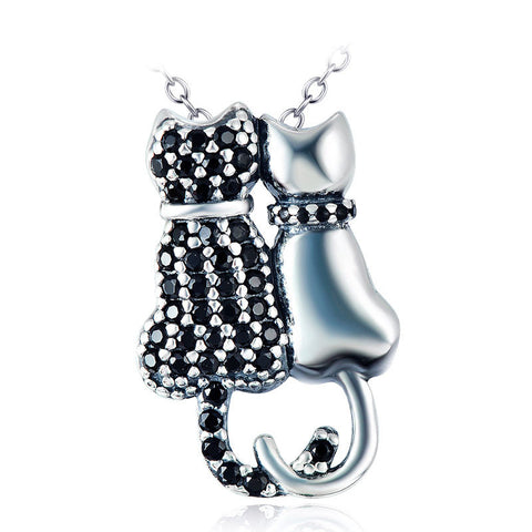 Twin Cats Silver Pendant Necklace