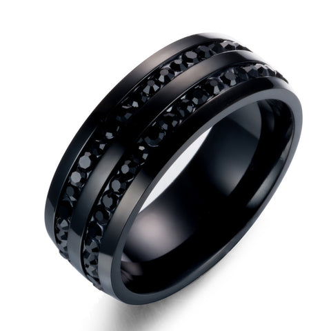 Black Zircon Inlaid Stainless Steel Men's Engagement Ring