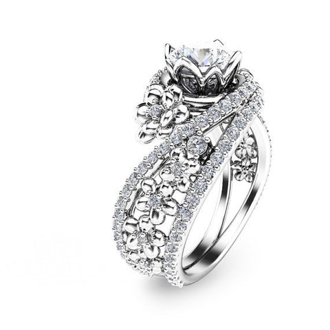 Floral White Gold Unique 925 Sterling Silver Engagement Ring