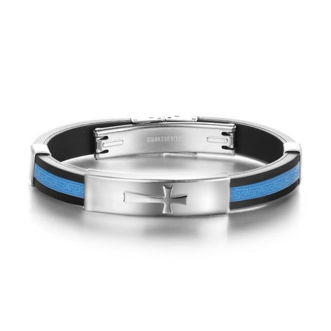 Cross Black & Light Blue Silica Gel Men's Bracelet