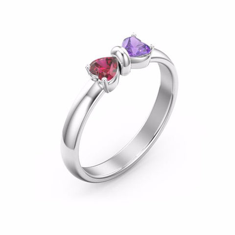 Birthstone Customized Mutual Affinity Bowknot 925 Sterling Silver Engagement Ring