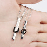 Stainless Steel CZ Inlaid ¨¹Forever Love¨¹ Lovers Necklaces