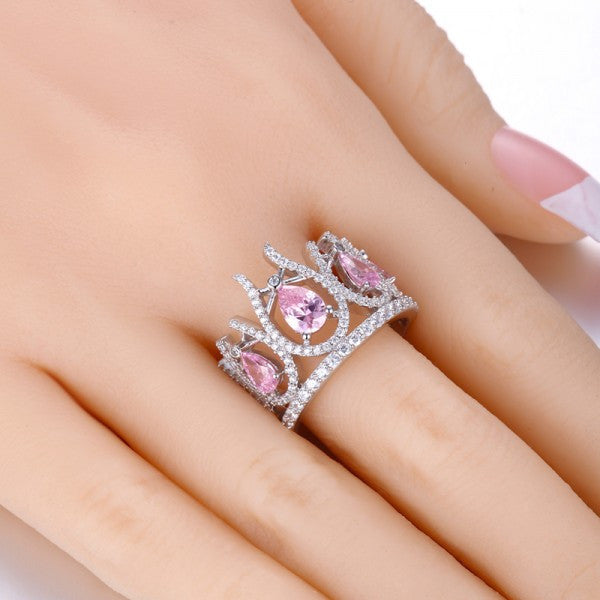 Crown Shaped Pink Diamond 925 Sterling Silver Engagement