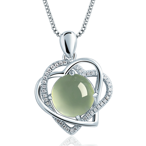 Mother's Jewelry - Heart Shape CZ Silver Pendant