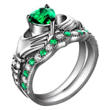 925 Sterling Silver Gold Plated Green Emerald Claddagh Ring Set