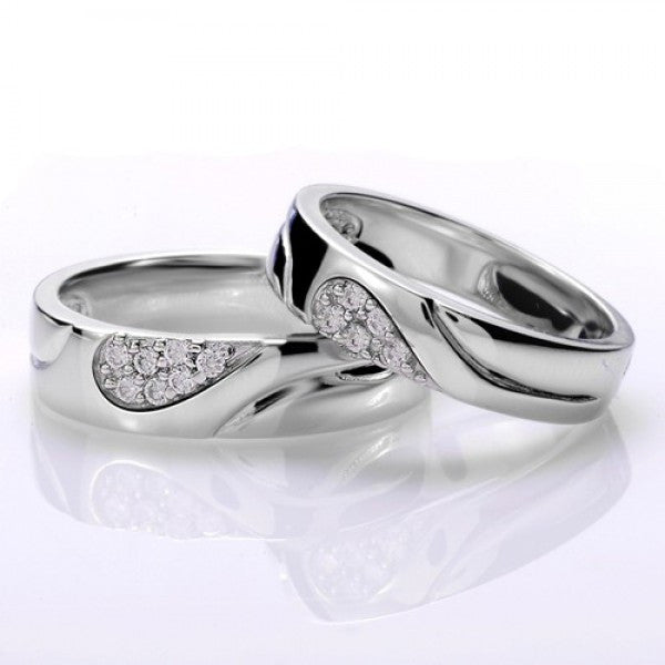 Exquisite 925 Sterling Silver Cubic Zirconia Heart Couple Rings
