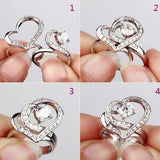 Sweet Heart With Crystal Women's Ring