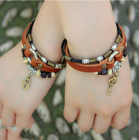 Key And Lock Vintage Leather Handmade Couple Bracelets